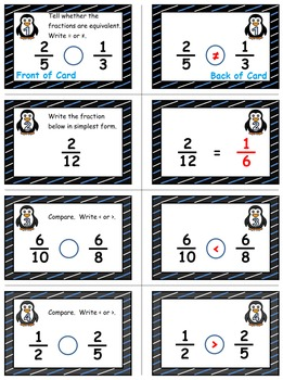 Penguin Plunge Game Cards (Simplify & Compare Fractions) Sets 4-5-6