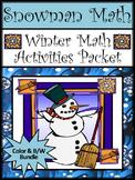 Winter Math Worksheets: Snowman Math Winter Math Activity Bundle - Color&BW