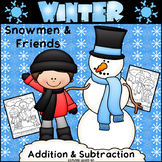 Winter Math / Snowmen Two Digit Addition & Subtraction / Color by Number