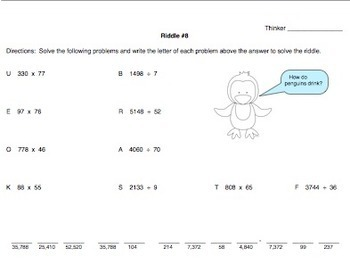 Winter Math Solve The Penguin Riddles Using Multiplication & Division