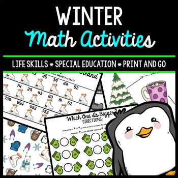 Winter Math - Special Education - Life Skills - Print & Go Worksheets