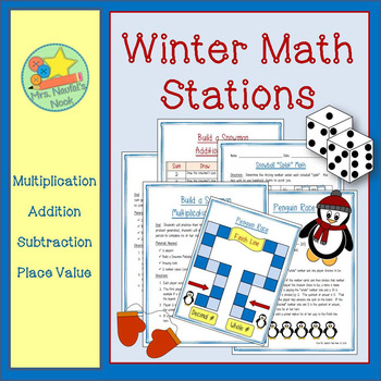 Winter Math Games - Addition, Subtraction, Multiplication, Place Value