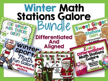 Winter Math Stations Galore Bundle-Five Differentiated Stations Aug-Nov