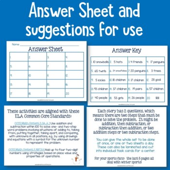 Winter Math Stories with Two Part Problems