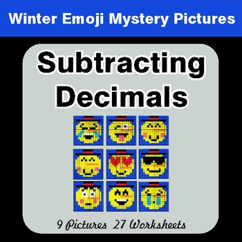 Winter Math: Subtracting Decimals - Color-By-Number Mystery Pictures