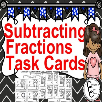 Winter Math Subtracting Fractions