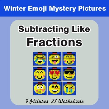 Winter Math: Subtracting Like Fractions - Color-By-Number Math Mystery Pictures