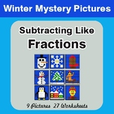 Winter Math: Subtracting Like Fractions - Color-By-Number Mystery Pictures