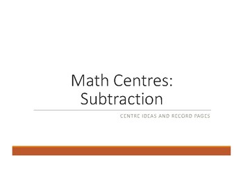 Subtraction Centres & Winter theme Practice Booklet