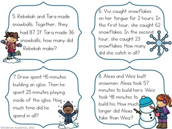 Winter Addition & Subtraction Task Cards {2.OA.1}