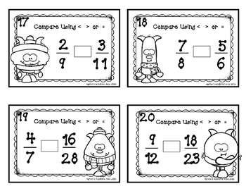 Winter Math Task Cards: Area/Perimeter and Fractions ~24 included~