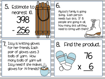 Winter Math Task Cards SCOOT 3rd and 4th grade TEKS CCSS