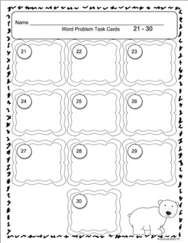 Winter Math Task Cards! Word Problems! Early Finishers Grades 1-3