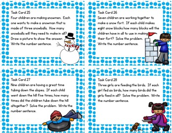 Winter Math Task Cards for Multiplication