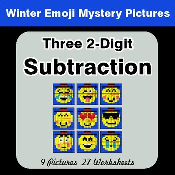 Winter Math: Three 2-Digit Subtraction - Color-By-Number Math Mystery Pictures
