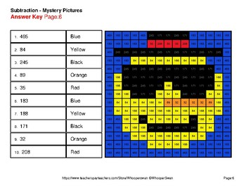 Winter Math: Three 3-Digit Subtraction - Color-By-Number Mystery Pictures
