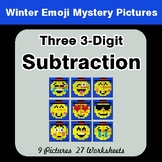 Winter Math: Three 3-Digit Subtraction - Color-By-Number M