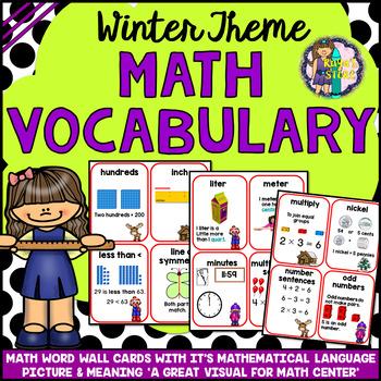 Winter Math Vocabulary Cards A to Z (Winter Math)