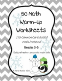 Winter Math Warmup Worksheets - 50 Common Core Review Worksheets!