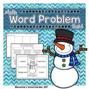 Winter Math Word Problem Sort: Multiplication, Division, Addition, & Subtraction