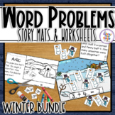 Winter Math Word Problem Story Mats - addition & subtraction within 10