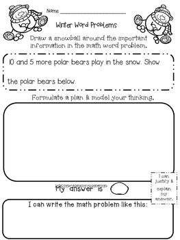winter math word problems kindergarten and first grade by lazzaro. Black Bedroom Furniture Sets. Home Design Ideas