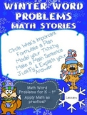 Winter Math Word Problems Kindergarten and First Grade