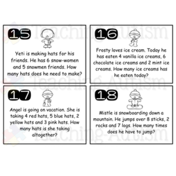 Winter Math Word Problems Task Cards