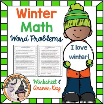 Winter Math Word Problems Worksheet and Answer KEY