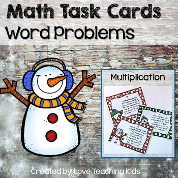 Math Word Problems- Winter- multiplication and division task cards