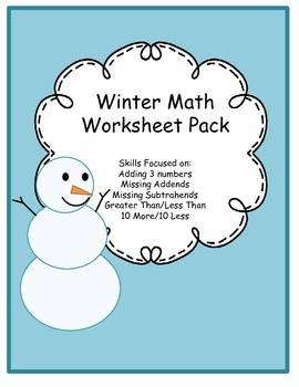 Winter Math Worksheet Pack