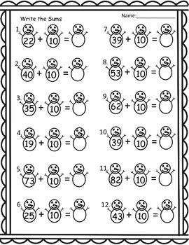 Winter Math Worksheet Pack