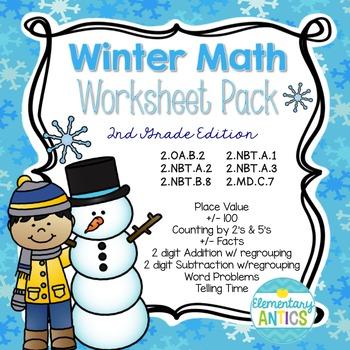 Winter Math Worksheet Pack {2nd Grade}