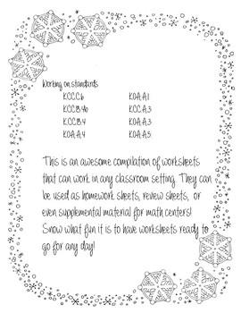 Winter Math Worksheet Packet