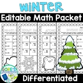 Winter Math Worksheets Differentiated and Editable