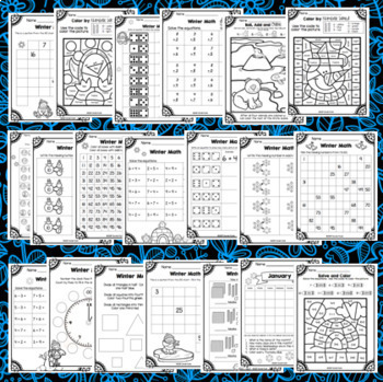 Winter Math Worksheets - January First Grade Morning Work  - 20 pages