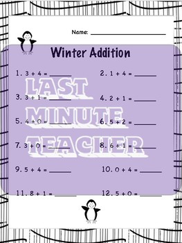 Winter Math Worksheets - Single Digit Addition and Subtraction Horizontal