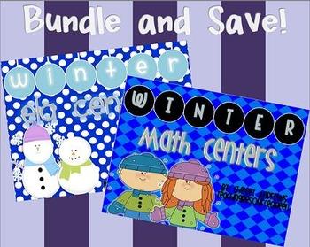Winter Math and ELA Center Bundle {2nd Grade Common Core Aligned}