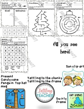 Winter Math and ELA Worksheets K-1st