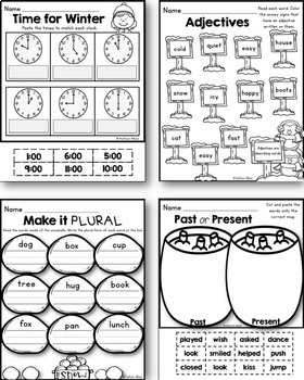 Winter Printables - Math and Literacy for First Grade