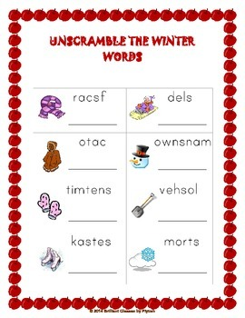 Winter Math and Literacy Activity and Worksheets pack (KG to 1st Grade)