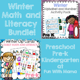 Winter Math and Literacy Bundle Clip Cards and Writing Mats