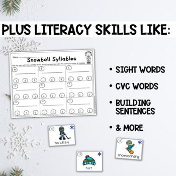 Winter Math and Literacy Centers for Kindergarten Bundled