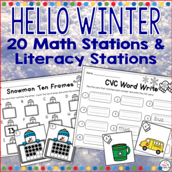 Winter Math and Literacy Centers for Kindergarten Bundled