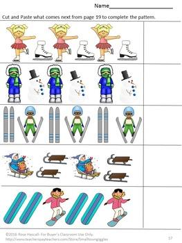Winter Sports Activities Kindergarten Morning Work Cut and Paste Worksheets