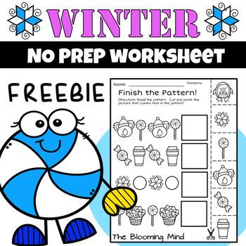 Winter Math and Literacy Worksheet FREEBIE