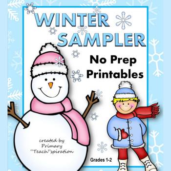 Winter Math and Literacy NO PREP Printables Sampler