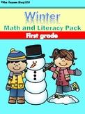 Winter Math and Literacy No Prep Printables First Grade