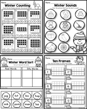 Winter Math and Literacy Printables Packet [Kindergarden]