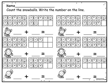 Winter Math and Literacy Printables, Task Cards, and Center